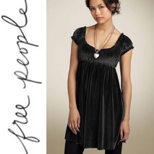 Free People Black Velvet Smocked Babydoll Dress M